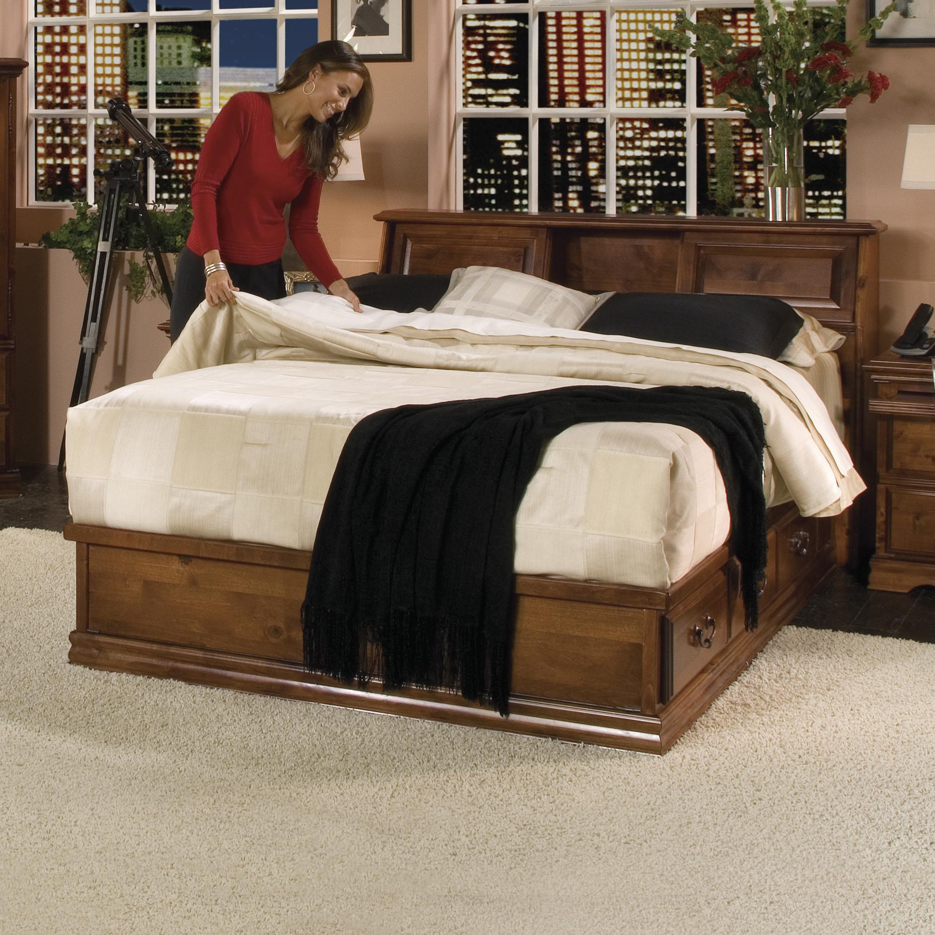 Furniture Traditions Alder Hill Queen Hamilton Headboard Bed with Storage - Item Number: A600+A611