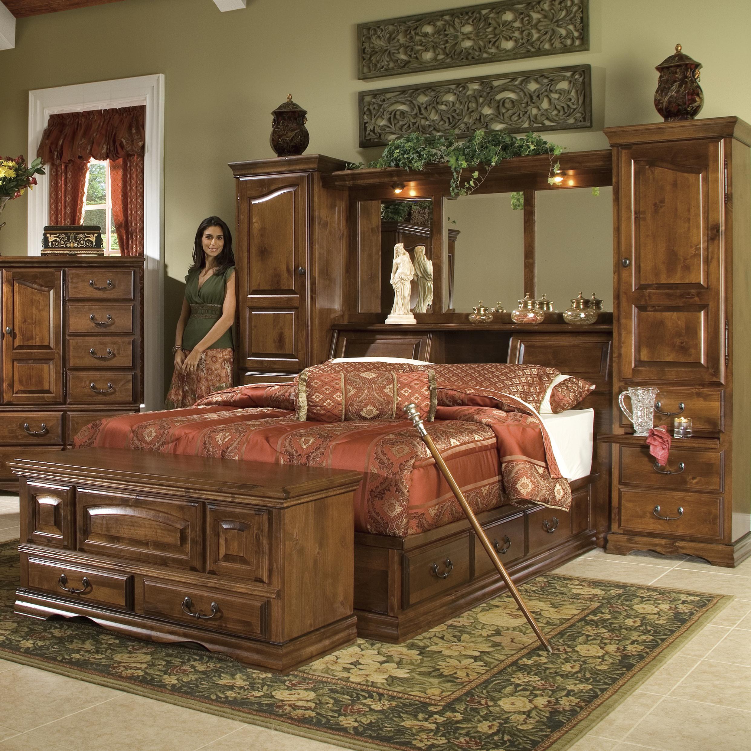 Furniture Traditions Alder Hill King Pier Group Bed Mueller Furniture Bookcase Bed