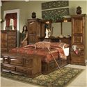 Furniture Traditions Alder Hill King Pier Group Bed - Item Number: A605+A611