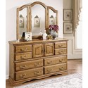 Furniture Traditions Master-Piece Master-Piece Dresser & Treasures Wing Mirror - Item Number: 2000+3500