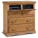 Furniture Traditions Master-Piece Bedroom Entertainment Console - Detail of storage. Shown in Medium finish.