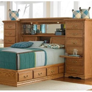 Furniture Traditions Master-Piece Queen Midwall with underbed drawer pedestal.