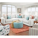 Fusion Furniture 1050-20 3-Piece Corner Sectional - Item Number: 1050-21L+15+21RGradin Dove