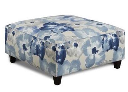 Fusion Furniture 109 Square Ottoman - Item Number: 109Aptura Floral Indigo