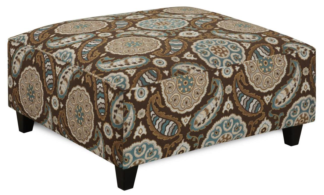 Fusion Furniture 109 Square Ottoman - Item Number: 109Artisan Turquoise
