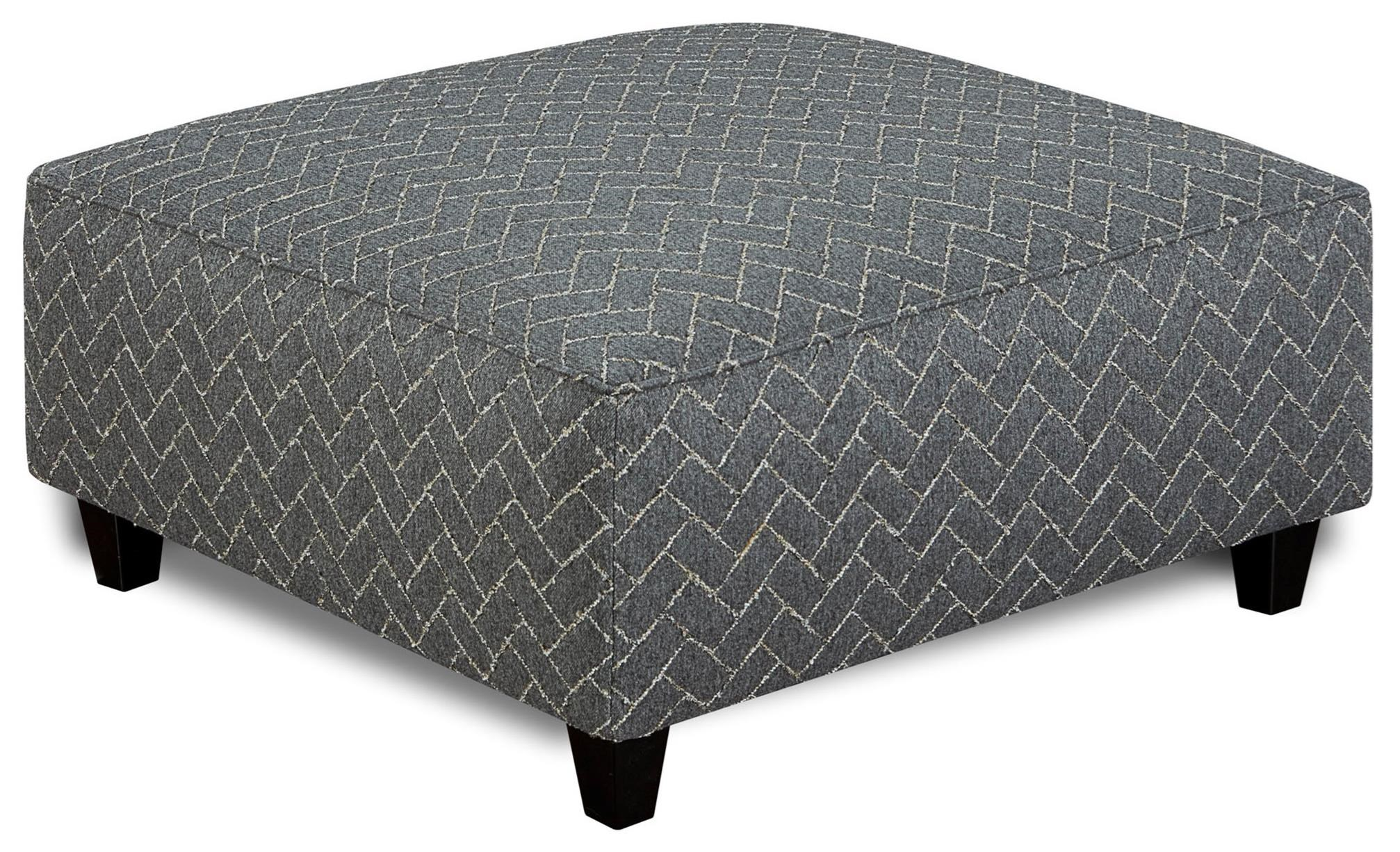 Fusion Furniture 109 Square Ottoman - Item Number: 109Herring Charcoal