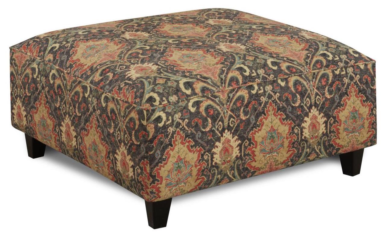 Fusion Furniture Geneva Taupe Script Square Ottoman - Item Number: 109Karmi Mardi Gras
