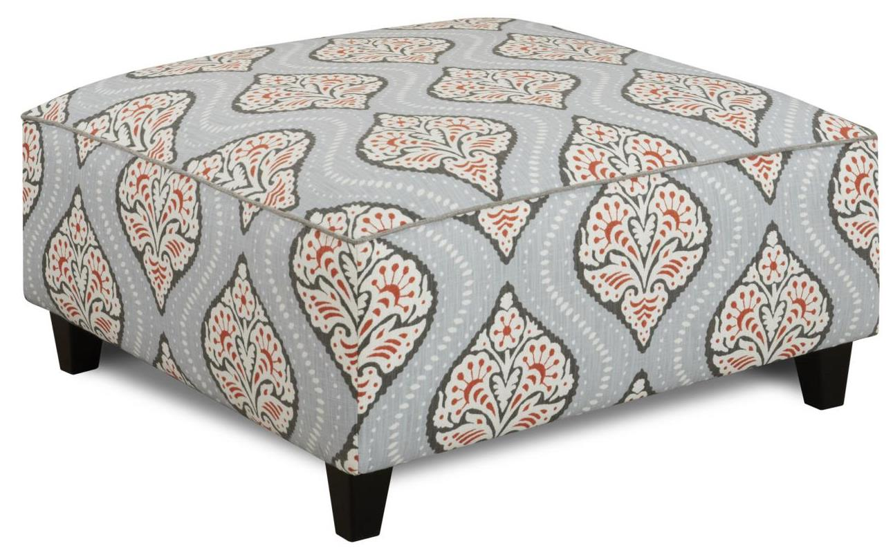 Fusion Furniture 109 Square Ottoman - Item Number: 109Kavali Ogee Persimmon