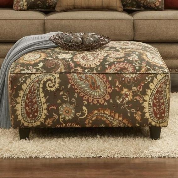 Fusion Furniture 109 Square Ottoman - Item Number: 109Lockleigh Cinnamon