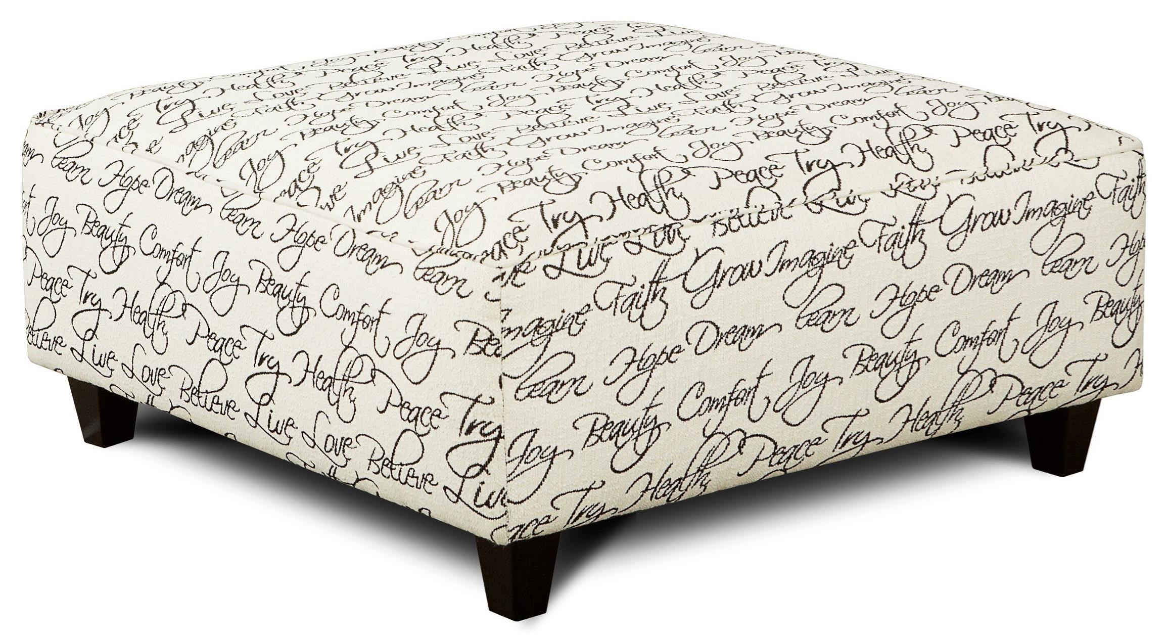 Fusion Furniture 109 Square Ottoman - Item Number: 109Tattler Ivory