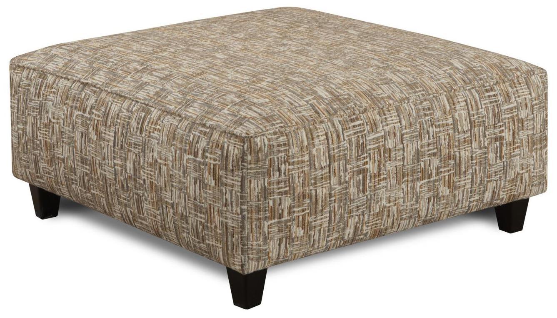 Fusion Furniture Geneva Taupe Script Square Ottoman - Item Number: 109Thor Flax