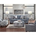 Fusion Furniture 1140 Stationary Sofa w/ Contrast Welts