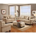 Fusion Furniture 1140 Loveseat with Rolled Arms