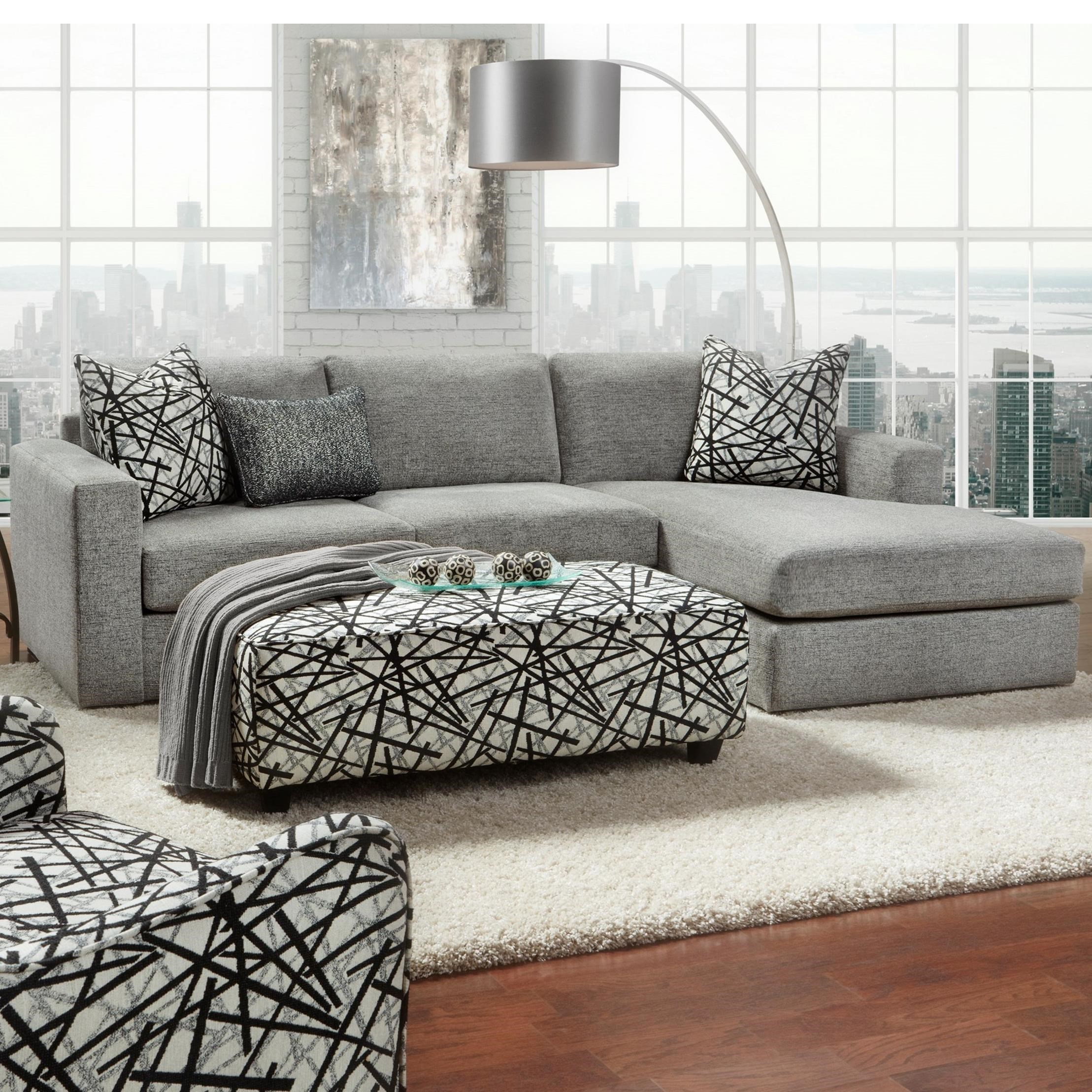 Fusion Furniture 2051 2 Piece Sectional - Item Number: 2051-21LBradley Pewter+26RBradley P