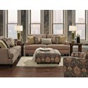 Fusion Furniture Monroe Contemporary Loveseat with Track Arms and Nailhead Trim