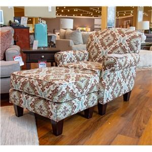 Fusion Furniture Quinn Twilight Accent Chair and Ottoman