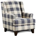 Fusion Furniture 260 Indigo Transitional Wing Back Chair - Item Number: 260Yucatan Indigo