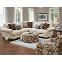 Fusion Furniture 2820 2-Piece Corner Sectional with Nailhead Trim