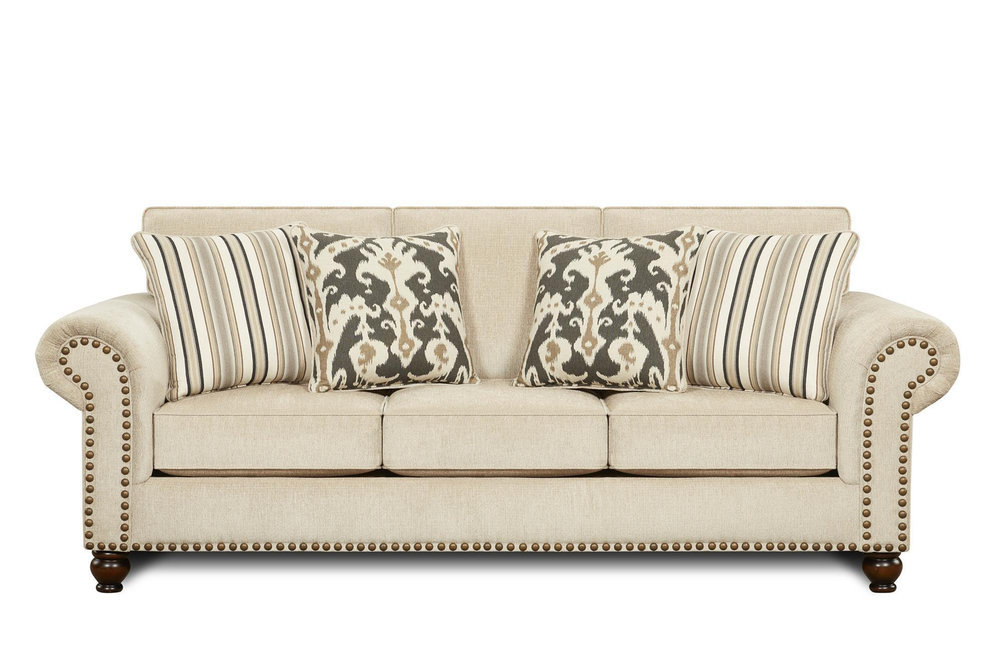fusion furniture 3110 fairly sand sofa with nail head trim accent - miskelly furniture