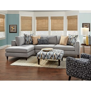 Fusion Furniture 3400 Modern 2-Piece Sectional with Left Chaise ...