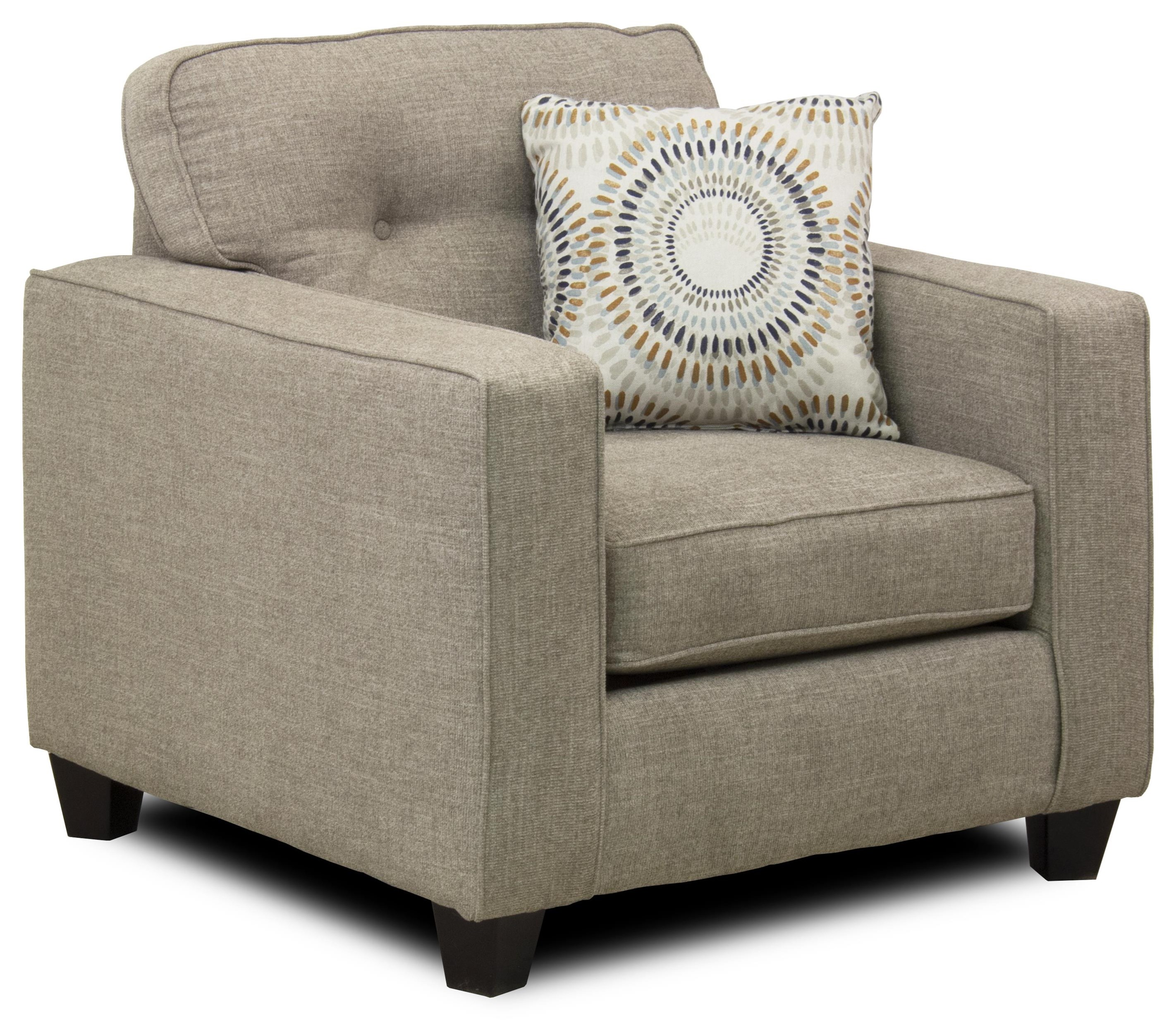 Radiant Contemporary Chair with Track Arms and Button Tufted Cushion ...