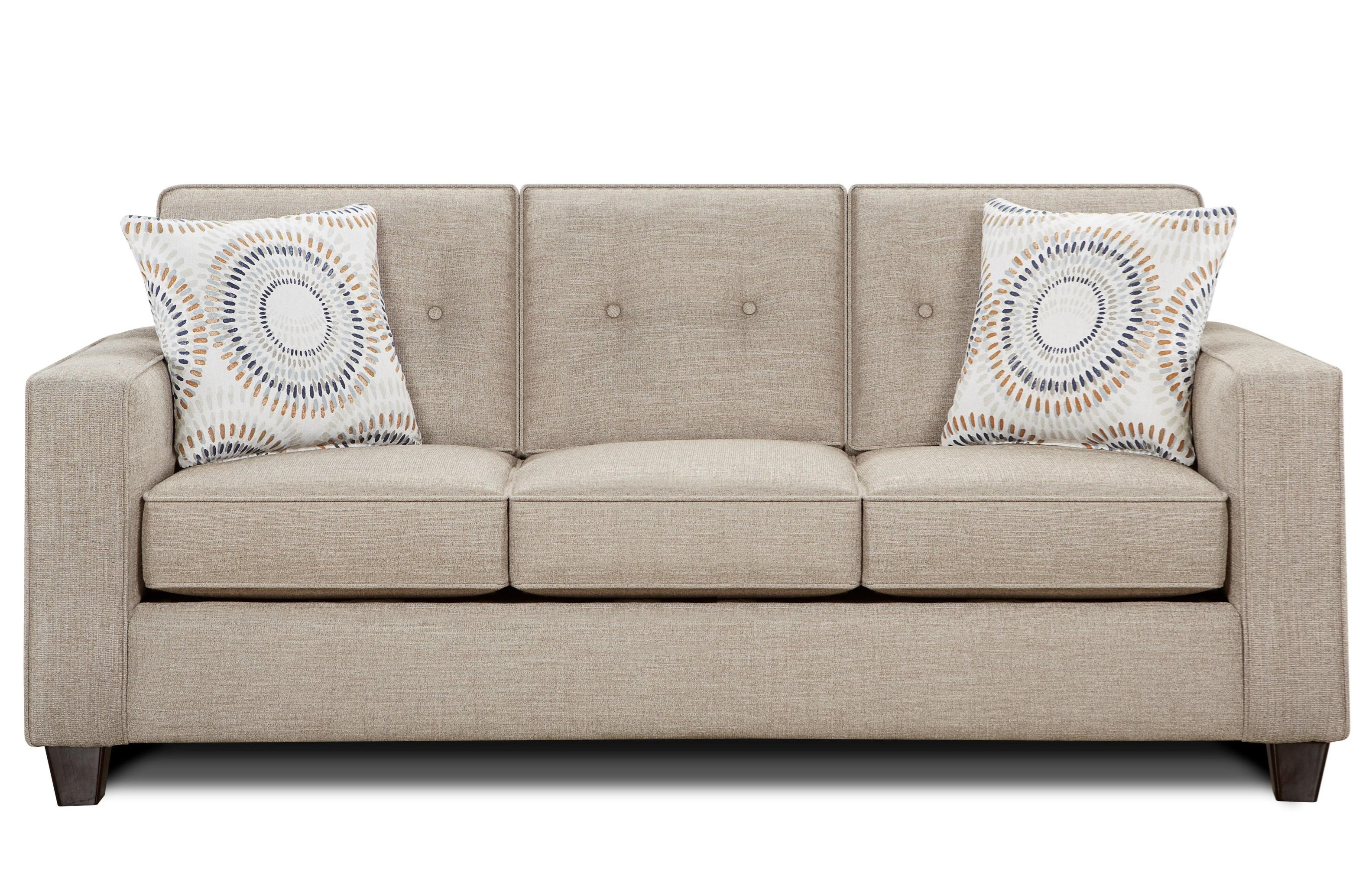 Fusion Furniture 3560b Contemporary Sofa With Track Arms And Button