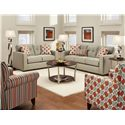 Fusion Furniture 3560B Stationary Living Room Group - Item Number: 3560B Grey Living Room Group 2
