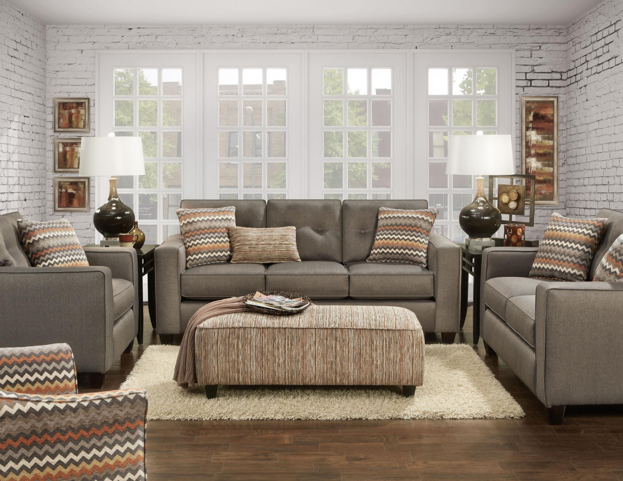 Fusion Furniture 3560b Contemporary Sofa With Track Arms