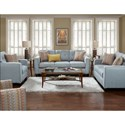 Fusion Furniture 3560B Contemporary Chair with Track Arms and Button Tufted Cushion