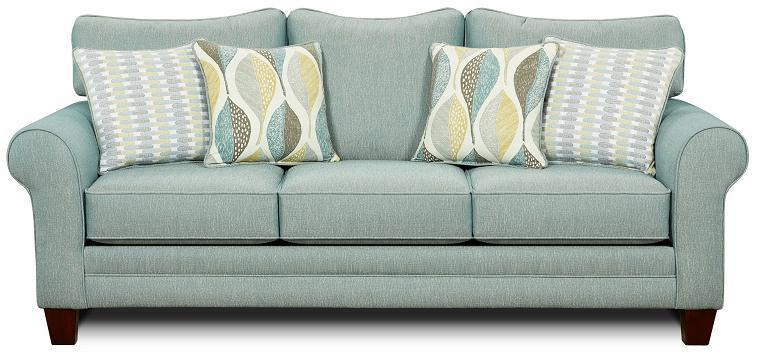 Fusion Furniture Candy Stationary Sofa with Accent Pillows - Item Number: 1140 AQUA