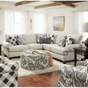 Fusion Furniture 4200 Sectional - Item Number: 42-21L+15-KP+21RShadowfax Dove