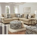 Fusion Furniture 4200 Sectional - Item Number: 42-21L+15-KP+21RWhitaker Wheat