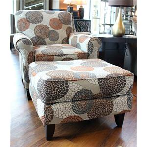 Fusion Furniture 503 Chrysanthmum Umber Ottoman