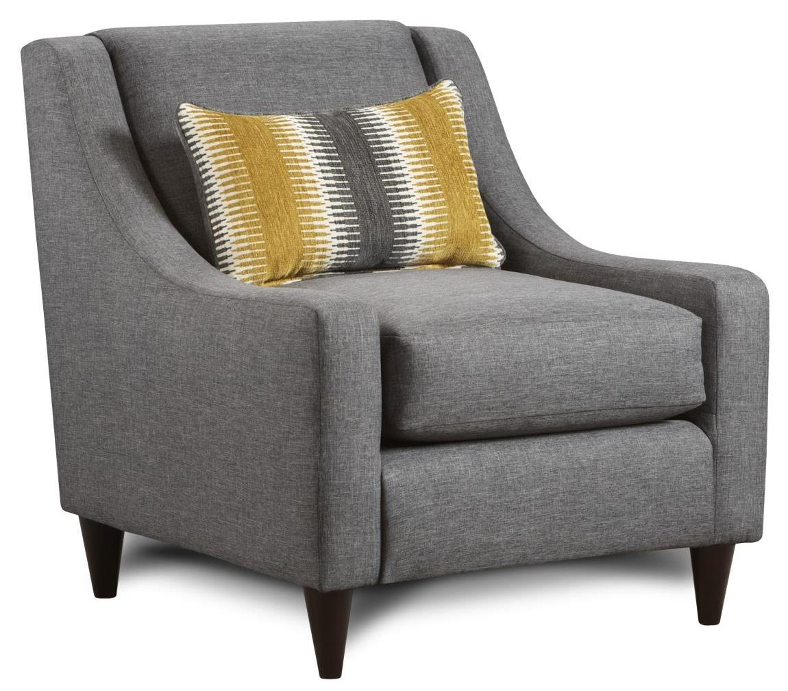 Fusion Furniture 592 Accent Chair with Pillow - Item Number: 592-KPMaxwell Gray