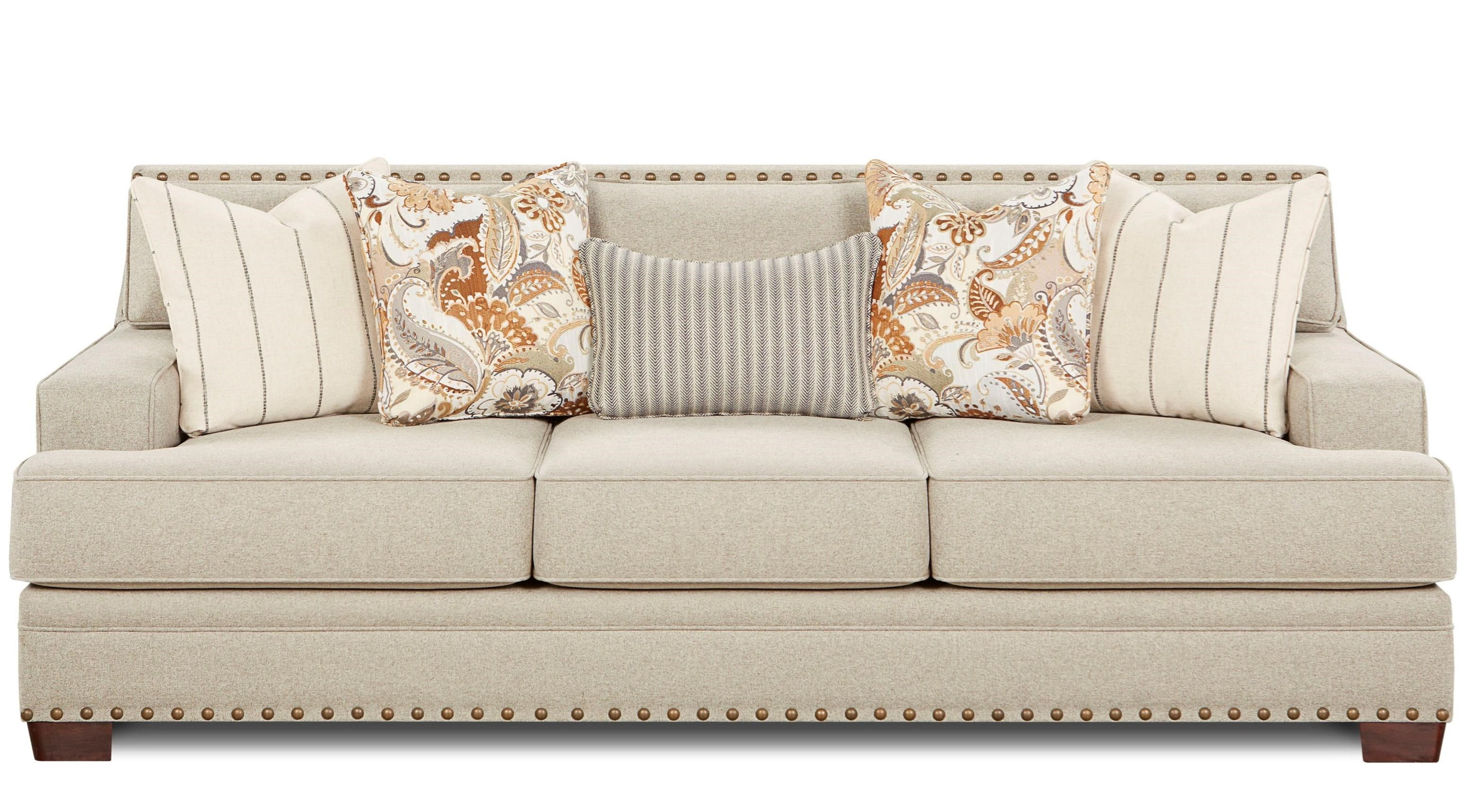 Fusion Furniture Moore Metal Contemporary Sofa With Track Arms And Nail Head Trim Royal Furniture Sofas