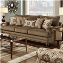 Fusion Furniture Champ Walnut Traditional Sofa with Nail Head Trim