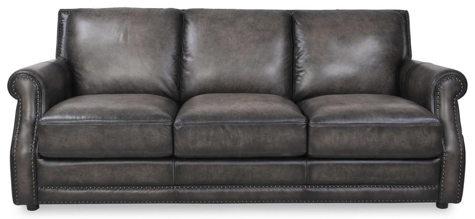 Charcoal Leather Sofa