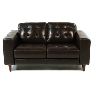 Loft Leather Benjamin Contemporary Leather Loveseat