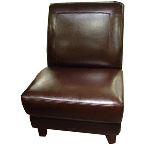 Beau Futura Leather 6101 Armless Chair With Exposed Wood Feet