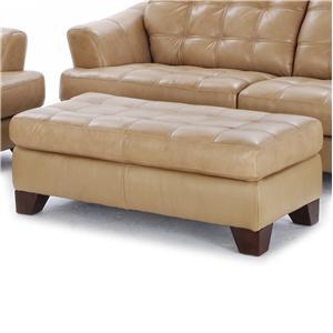Tremendous Futura Leather 6692 Tufted Seat Ottoman With Exposed Wood Creativecarmelina Interior Chair Design Creativecarmelinacom