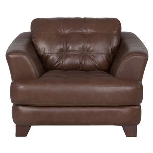 6692 Club Styled Accent Chair with Tufted Seat and Flared Arms by Futura Leather