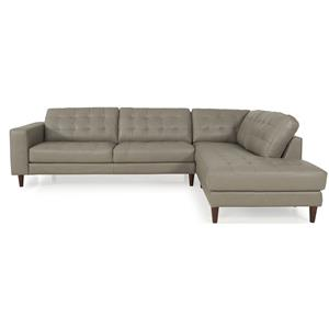 Dante Leather 8424 Sectional with RAF Chaise