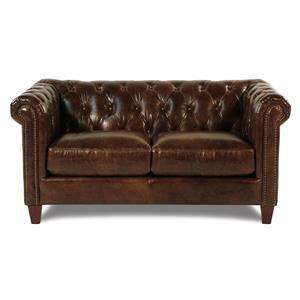 Loft Leather Carrington Tufted Leather Loveseat