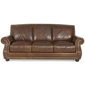 Dante Leather Cerato Hickory Leather 2830 Stationary Sofa