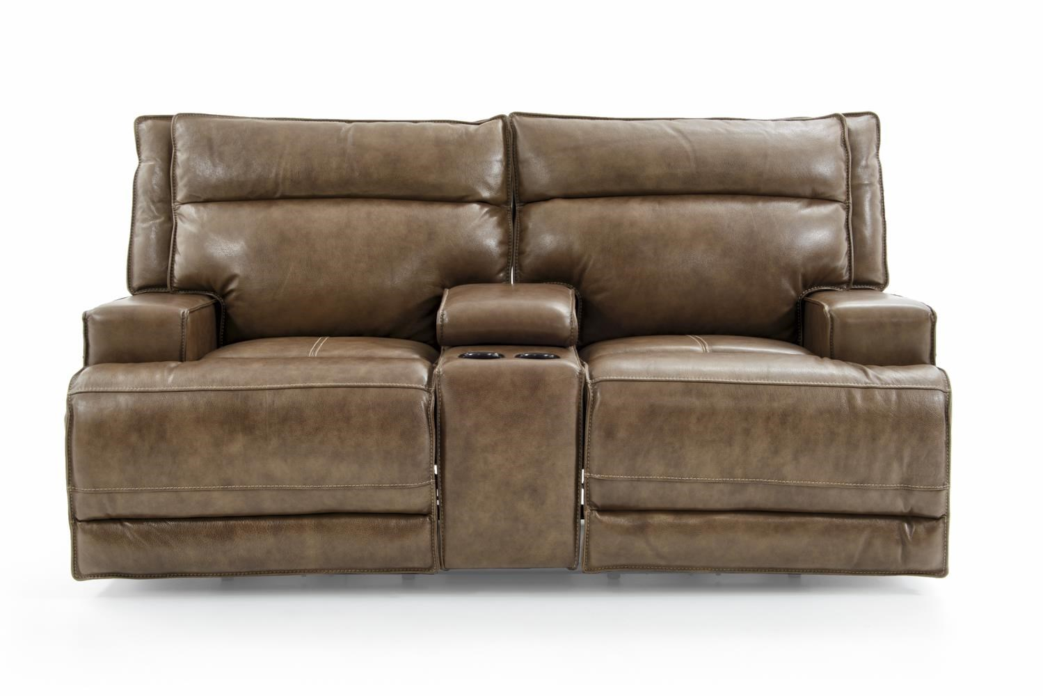Futura Leather E1270 E1270 248 1421h Sanibel Power Reclining Loveseat With Cupholder Console And