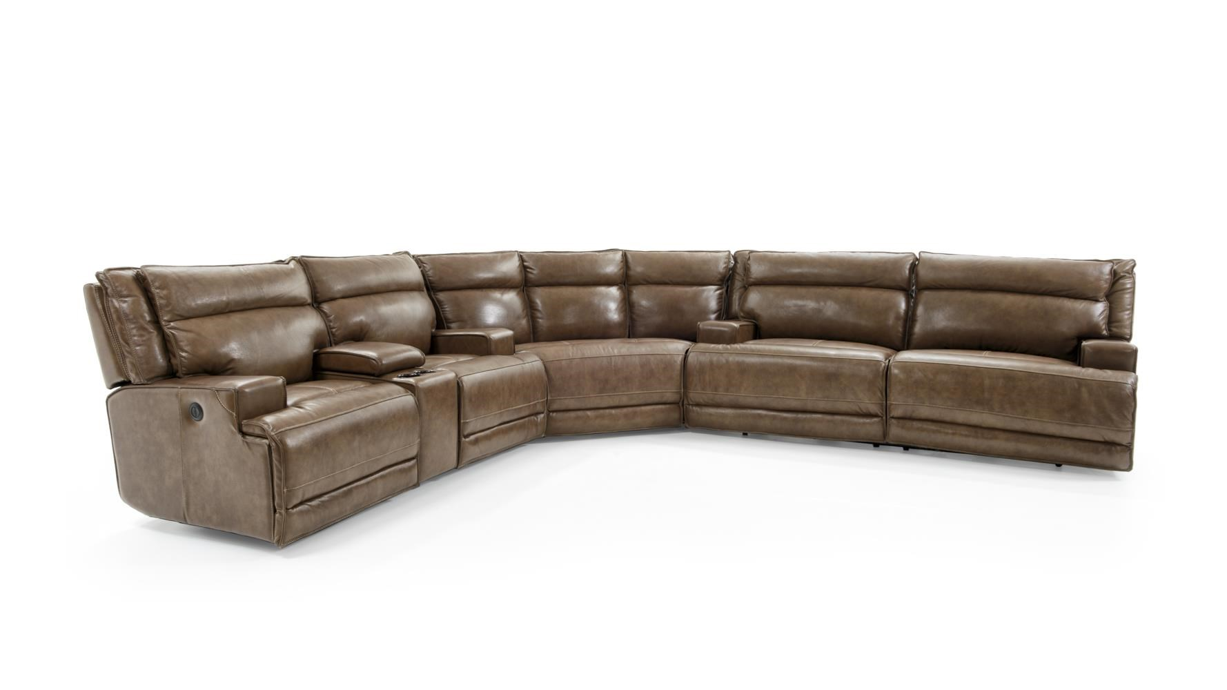 Futura Leather E1270 Three Piece Power Reclining Sectional Sofa with Cupholders and USB Ports ...