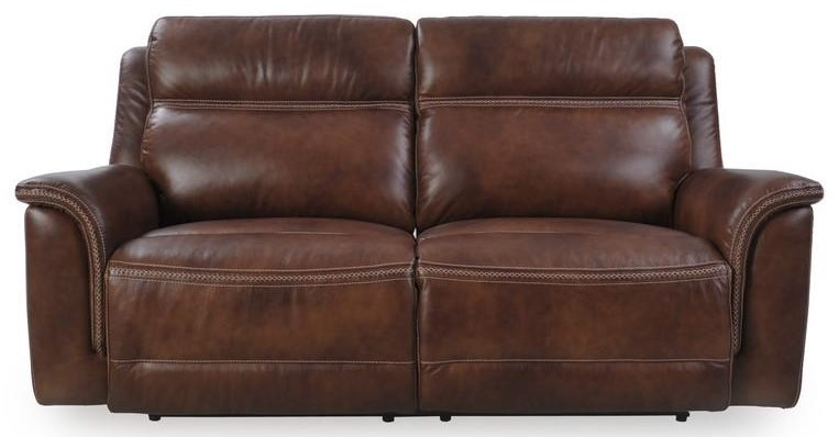 Pacific Oak Leather Reclining Sofa