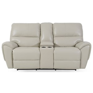 Casual Power Reclining Console Loveseat with Power Headrests and USB Port