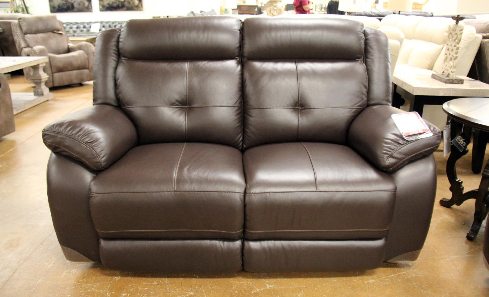 Omega Chocolate Leather Reclining Loveseat