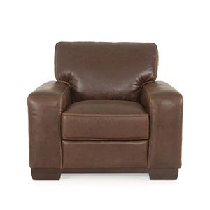 Futura Leather Marquis Contemporary Leather Chair with Track Arms and Plush Padding